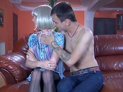 Sissified prude in a blond wig and dress gets talked into gay oral-anal sex