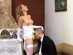 Ladyboy bride can't wait any minute aching to fuck her newly married hubby