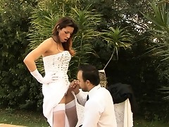 Outrageously hot shemale bride shoving her meaty rod deep down a man-pussy