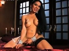 Sensual Melissa Raven stroking off her juicy cock