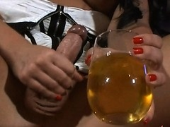 ot Ashley George jerking off on a glass of pee