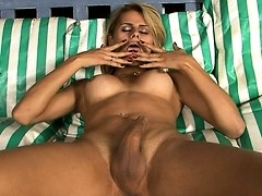 Sweet tgirl Yasmin fingering and jerking off