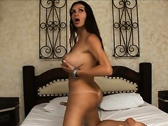 Stunning Barbara stroking off her juicy cock