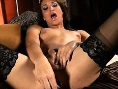 Beautiful Jonelle toying & stroking in sexy stockings