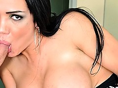 Dark haired tranny gets tit fucked before fucking man in ass