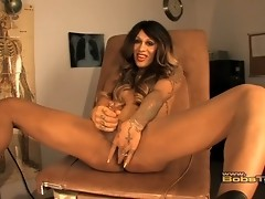 Horny Oliviah playing with her juicy stiff cock