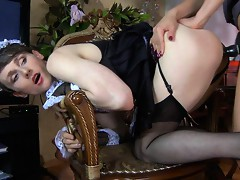 Sexy sissy maid pleasing her mistress by opening up her mouth and butthole
