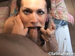 TS Nikki taking a cock deep down her throat