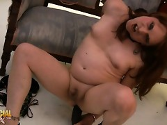 Dirty Adasia screws a big black dildo