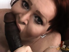 Wendy blows & rides a big black dick