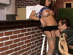 Busty shemale in sheer nylons with a black garter belt dicking a happy dude