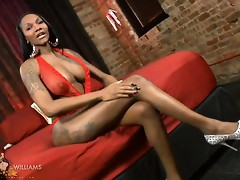 Sexy ebony TS Elyktrah strips & plays