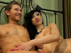 One of the biggest cum loads ever from TS Venus - she pops a windfall of cum onto her man's face, mouth, hair, eyes after super sexy, intense fuc