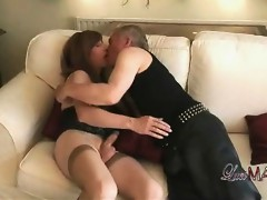 Slutty tgirl Lucimay gets on her knees and sucks some hard cock.