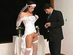 Tranny bride with smashing looks feeding a hubby on her beef and ass-fucking