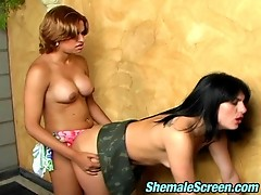 Nasty shemale satisfying her sex fever while pounding brunette in bathroom