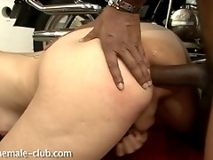 Horny tgirl gets her asshole drilled by a biker
