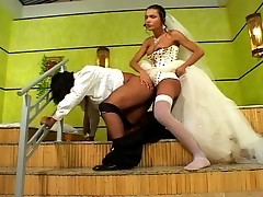 Sweltering shemale bride ass-fucking her groom mercilessly in the bathroom