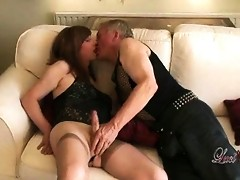 Slutty tgirl Lucimay gets on her knees and sucks some hard cock