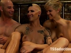 Debut of Ts Fetish Diva, Danni Daniels in threesome with Chloe Camilla and Patrick Rouge....