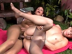 Stunning shemale chick talked into deep butt plowing by a sex-crazed guy