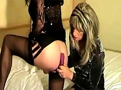 Yvette orders in some room service in the shape of a sexy tranny slut and gets her cock sucked all night.