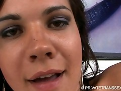 Horny Vivian just loves to stroke off her fat cock