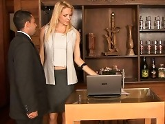 Heated shemale secretary bends her boss over and crams his tight bunghole
