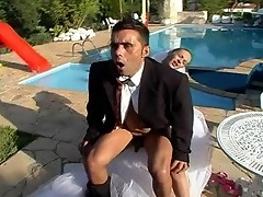 Shemale bride and her fiance fucking like hell while celebrating nuptials