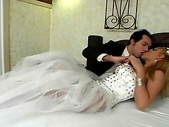 Sexy shemale bride revealing her fucking talents during first wedding night