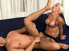 Seductive shemale ready to do sizzling anal job spreading guy's butt cheeks