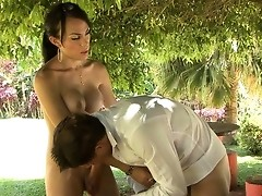 Eager waiter swallows a shemale�s dick making it ready for anal penetration