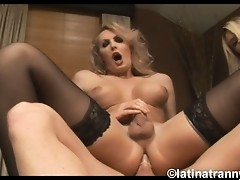 Two sexy tgirls getting their tight assholes drilled hard and rough