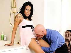Horny business man fucks a tranny from behind in the bathtub