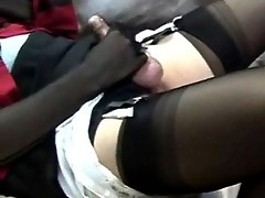 This big dicked pantie lover gets his rock hard cock toyed with until he cums