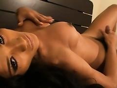 Naughty tgirl Sonya masturbating in her bedroom