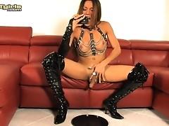 Sweet transsexual Laelah stroking off her juicy hard dick