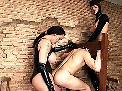 Two Shemale Mistresses Treating Their Slave