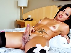 Hot Curved Tranny Masturbating His Hard Dick 4 Her Audition