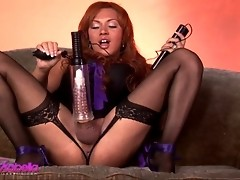 Naughty Mia Isabella pumping her huge cock