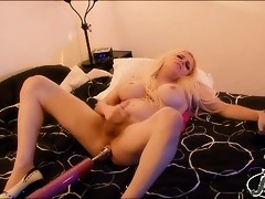 Dirty Jesse gets her tight asshole drilled by a fucking machine