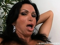 Transsexual Monica stroking off her huge hard cock
