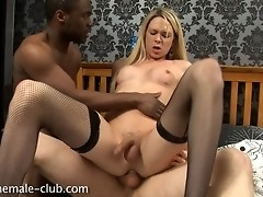 Horny transsexual gets her drilled
