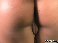 3Some! Sexy Tranny Has Her Dick Dipped In Both Wet Mouths!