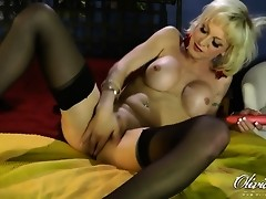 Amazing transsexual Olivia Love toying her sweet ass