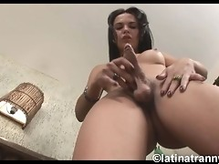 Adorable tranny exposing her sweet hard cock