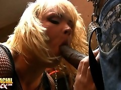 Hot blonde tgirl giving a head