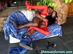 Hot guy getting impaled on rocky cock of sex-starving shemale in red nylons