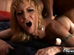 Horny TS babe gets a big fat black cock up her ass